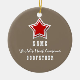 Awesome GODFATHER Red Star Sand Background A01 Ceramic Ornament