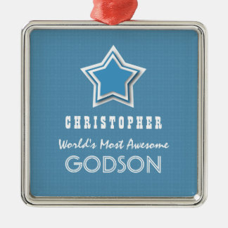 Awesome GODSON Blue White Star and Name D40Z Square Metal Christmas Ornament