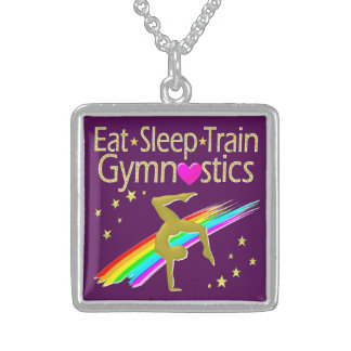 AWESOME GOLD AND PURPLE GYMNASTICS DESIGN STERLING SILVER NECKLACE