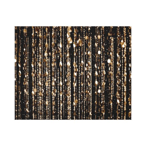 Awesome gold translucent beads, black, canvas canvas print