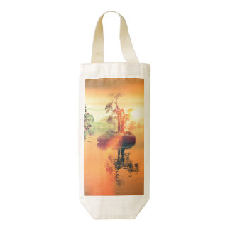 Awesome golden sunset on the sea zazzle HEART wine bag