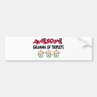 AWESOME GRAMMA of TRIPLETS Bumper Sticker