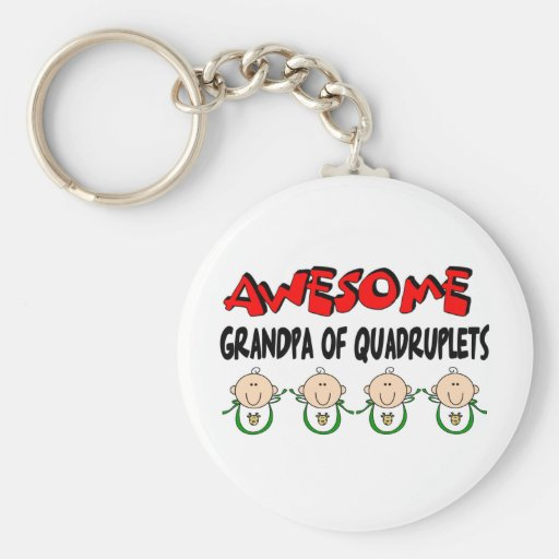 AWESOME GRANDPA of QUADRUPLETS Basic Round Button Keychain