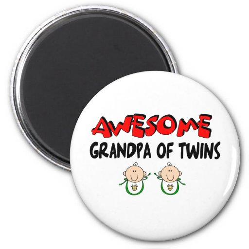 AWESOME GRANDPA of TWINS 2 Inch Round Magnet