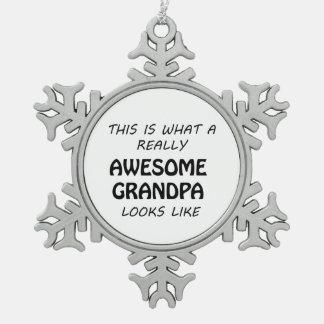 Awesome Grandpa Snowflake Pewter Christmas Ornament