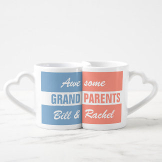 Awesome Grandparents - custom names - mug set Couples' Coffee Mug Set