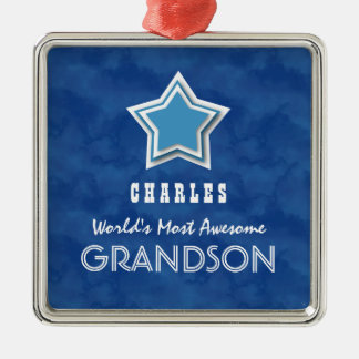Awesome GRANDSON Blue Clouds Star and Name D46Z Square Metal Christmas Ornament