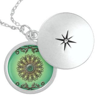 Awesome green diamond round locket necklace