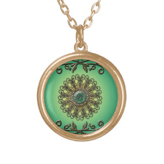 Awesome green diamond round pendant necklace