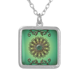 Awesome green diamond square pendant necklace
