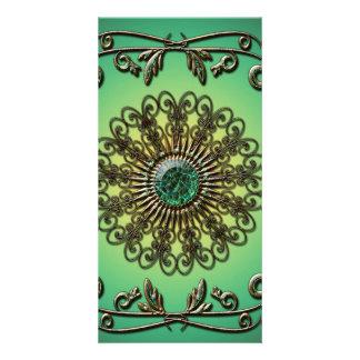 Awesome green diamond photo card