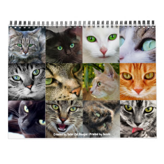 Awesome Green Eyed Cats 12-Month 2018 Wall Calendar
