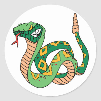 Awesome Green Rattlesnake Classic Round Sticker