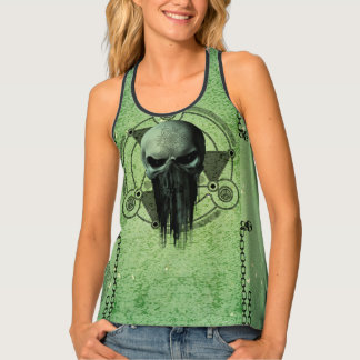 Awesome green skull tank top