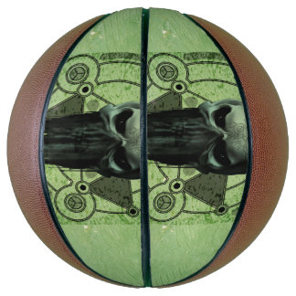 Awesome green skull with grunge basketball