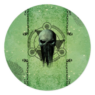 Awesome green skull with grunge card