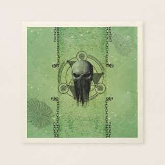 Awesome green skull with grunge paper napkin