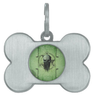 Awesome green skull with grunge pet tag