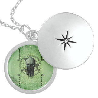 Awesome green skull with grunge round locket necklace