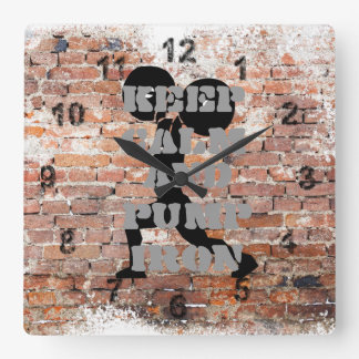 AWESOME GRUNE GYM SQUARE WALL CLOCK