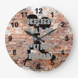 AWESOME GRUNGE BRICK WALL WEIGHTLIFTING LARGE CLOCK