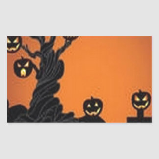 Awesome halloween tree design rectangular sticker