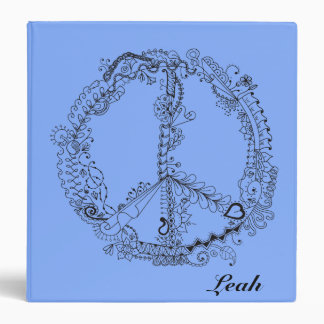 Awesome Hand Illustrated Artsy Floral Peace Sign Binder