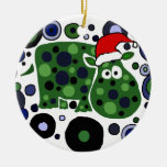 Awesome Hippo Christmas Art Abstract Ceramic Ornament