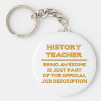 Awesome History Teacher .. Job Description Basic Round Button Keychain