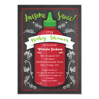 Awesome hot sauce baby shower chalkboard invites