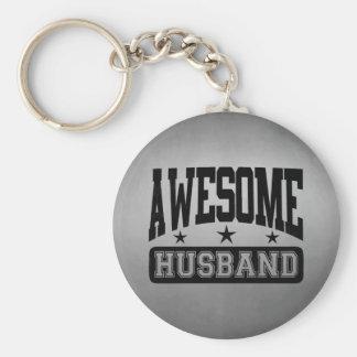 Awesome Husband Basic Round Button Keychain