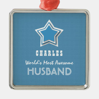 Awesome HUSBAND Blue White Star and Name D49 Square Metal Christmas Ornament
