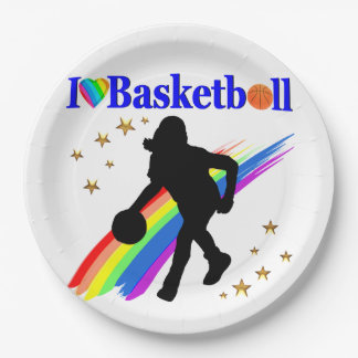 AWESOME I LOVE BASKETBALL DESIGN PAPER PLATE