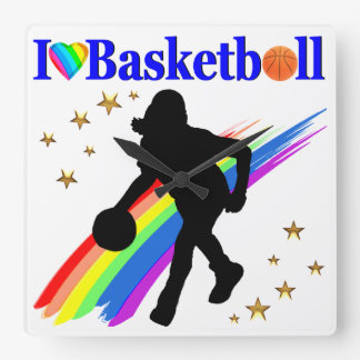 AWESOME I LOVE BASKETBALL DESIGN SQUARE WALL CLOCK