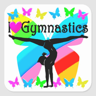 AWESOME I LOVE GYMNASTICS BUTTERFLY DESIGN SQUARE STICKER