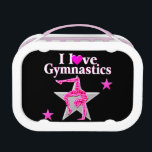 """AWESOME I LOVE GYMNASTICS DESIGN LUNCH BOX<br><div class=""""desc"""">Delight you spectacular Gymnastics Girl with this dazzling and colorful I love Gymnastics design on Tees and Apparel. This terrific Gymnast is pursuing her goals and dreams to become an International Gymnastics Champion. This fantastic Gymnastics gift is perfect for Birthdays, Holidays, or any occasion. Your talented Gymnast will be encouraged...</div>"""