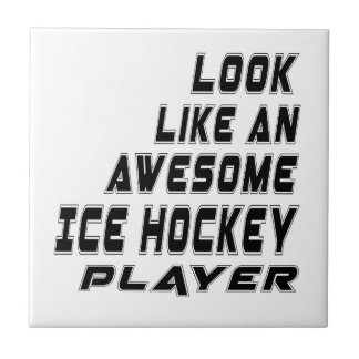 Awesome Ice Hockey Player Small Square Tile