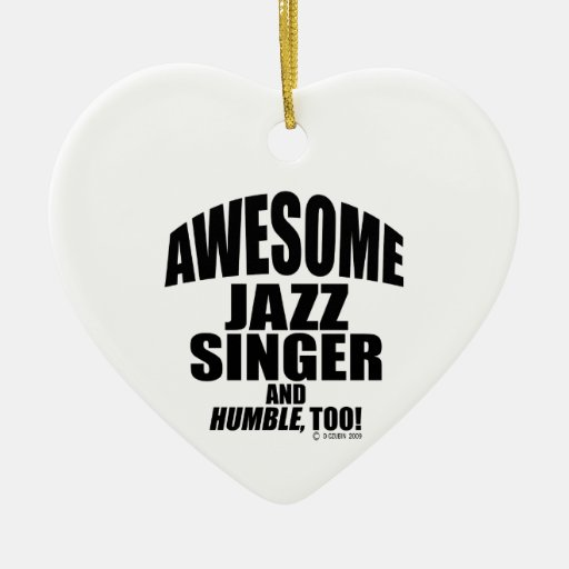 Awesome Jazz Singer Double-Sided Heart Ceramic Christmas Ornament