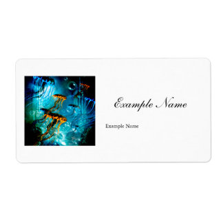 Awesome jellyfish in a fantasy underwater world label