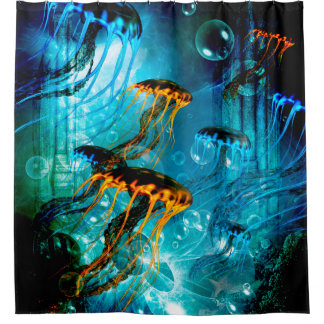 Awesome jellyfish in a fantasy underwater world shower curtain