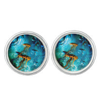 Awesome jellyfish,underwater world cufflinks