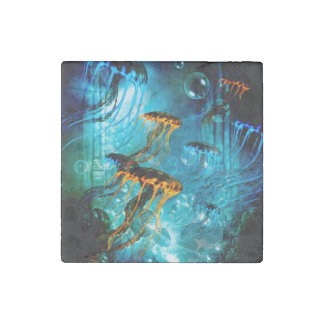 Awesome jellyfish,underwater world stone magnet