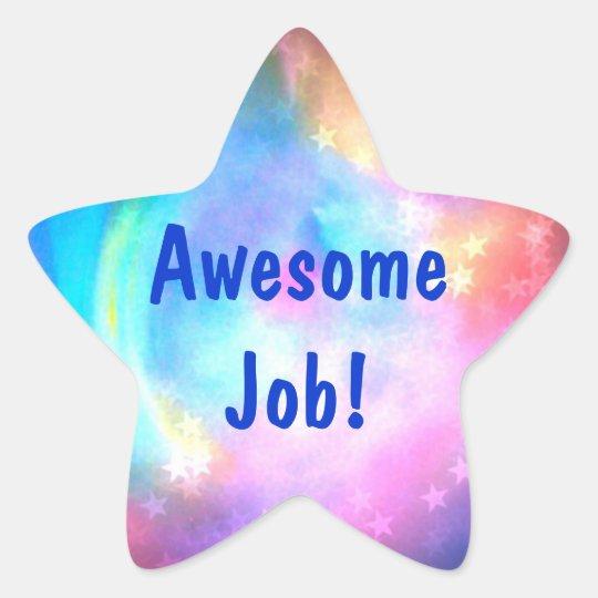 Awesome Job Rainbow Star Multi Color Star Sticker Zazzle Com