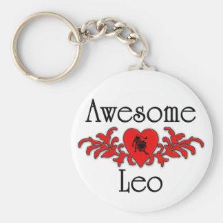 Awesome Leo Basic Round Button Keychain