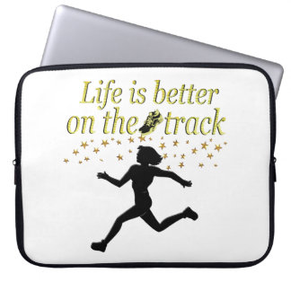 AWESOME LIFE IS BETTER ON THE TRACK DESIGN LAPTOP SLEEVE