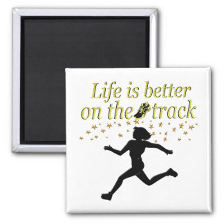 AWESOME LIFE IS BETTER ON THE TRACK DESIGN MAGNET