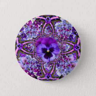 AWESOME LILAC PURPLE PANSIES GARDEN ART BUTTON