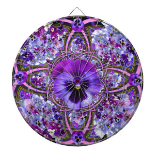 AWESOME LILAC PURPLE PANSIES GARDEN ART DARTBOARD WITH DARTS
