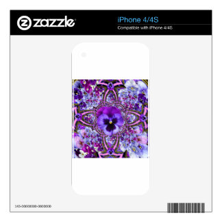 AWESOME LILAC PURPLE PANSIES GARDEN ART iPhone 4S SKINS
