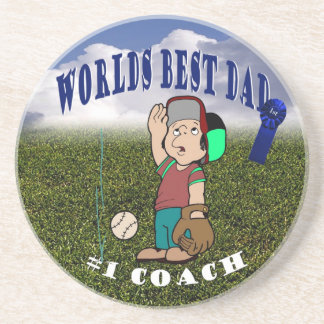Awesome Little League Dad & Son Fly Ball Practice Drink Coaster